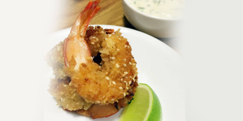 Panko-Dukkah Crusted Banana Prawns (serves 4)